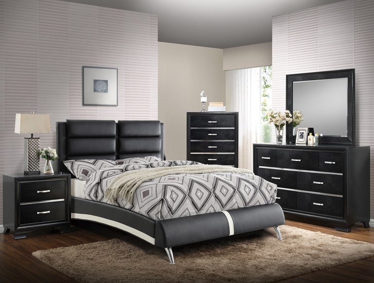 BIN   Bed   Full   Queen   King. BEN MODERN BONDED LEATHER BLACK   WHITE BED BY POUNDEX SKU F9340