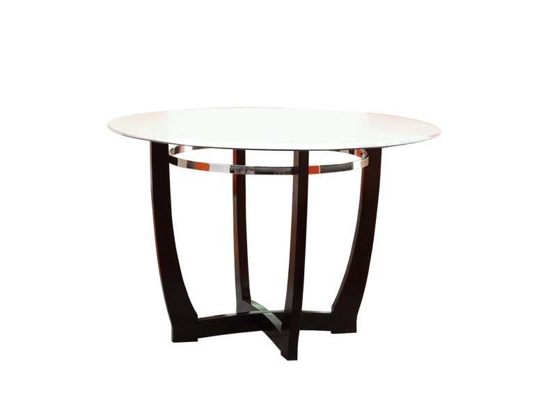 Poundex Contemporary Design Espresso Top Glass Round Dining Table Sku F2348